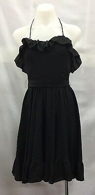 Vintage Cue 10 Fits Size 6 Black Frilled Halter Neck Party Dress