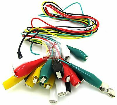 "10PC Multimeter Electrical Multicolor Alligator Clips Test Lead Cables 34"" Long"