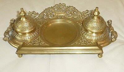 Victorian Brass Desk Double Inkwell
