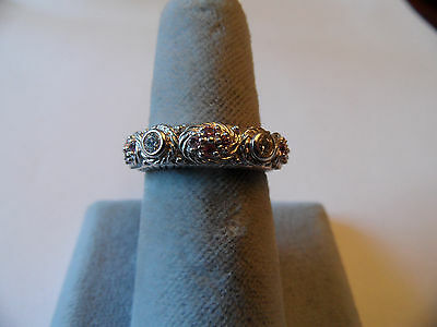 JUDITH RIPKA Sterling Silver & Genuine  Pink Sapphire & CZ Stackable Ring - Sz 6