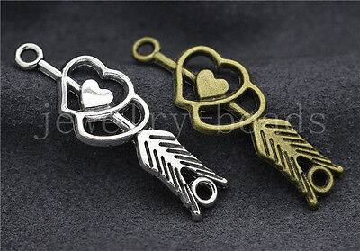 New 6/30/150pcs Antique Silver Double heart arrow Charms Connector DIY 39x13mm