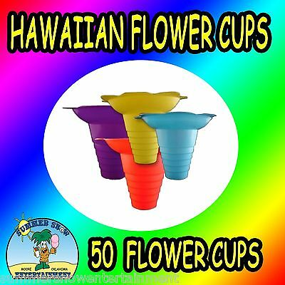 50-COUNT 8oz SNOW CONE/SHAVE ICE/ICEE FLOWER DRIP CUP/CONE CONCESSION SUPPLIES