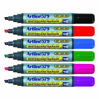 6 x Artline 579 Whiteboard Marker Assorted Colour Chisel 5.0mm