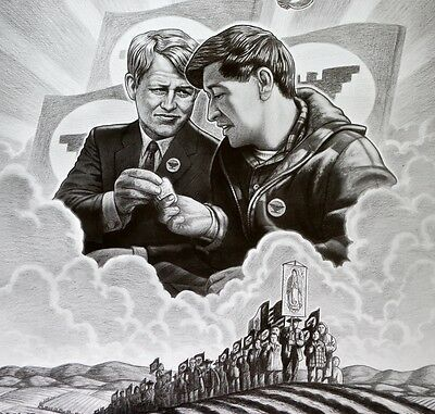 Ufw - Farm Workers =  Robert Kennedy  & Caesar Chavez  - Poster 1960's Scarce