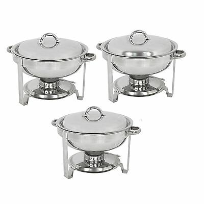 Pack of 3 Round Chafing Dish Buffet Warmer Set With Lid, Silver Accented Chafer