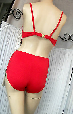 Vintage Pinup VLV High Waist Padded Bikini Lipstick Red or Turquoise