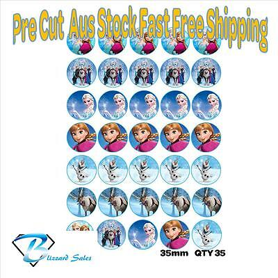 35X Edible Cupcake Toppers Frozen Wafer 35mm Birthday Party Cake Anna Elsa v2