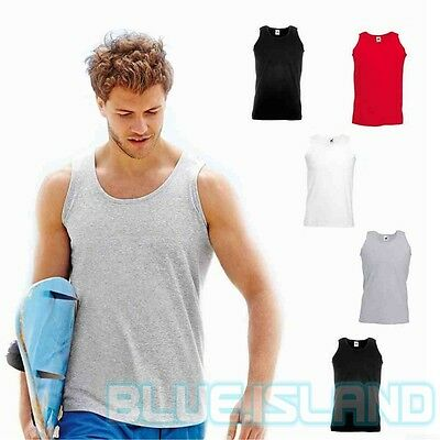 Fruit Of The Loom Vest Plain Athletic Blank Tank Top Gym Training Cotton Unisex
