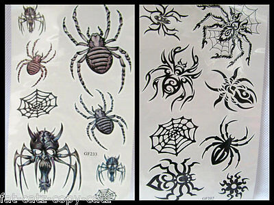 One Sheet black scary spider web insects halloween Temporary Tattoos UK Seller