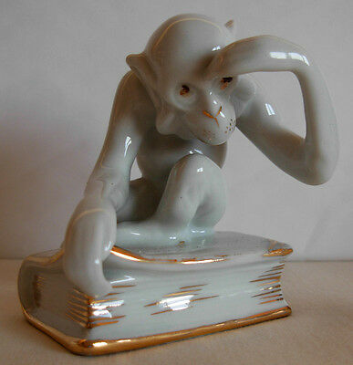 A Vintage  Porcelain Figurine Of A  Monkey On A Book By Royal Dux-   603--47