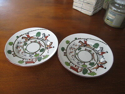 """Set Of 2 Crown Staffordshire England  Hunting Scene   Plates 6.25"""" Wide"""