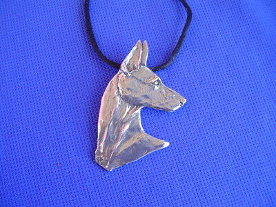 Doberman Pincher Necklace Head Study #29C Pewter dog jewelry by Cindy A. Conter