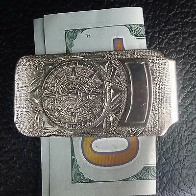 Preowned Fancy 925 Sterling Silver Money Clip With Aztec calendar Made In Mexico
