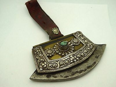 Antique Authentic Ornate Tibetan Fire Striker Starter Leather Turquoise Pouch