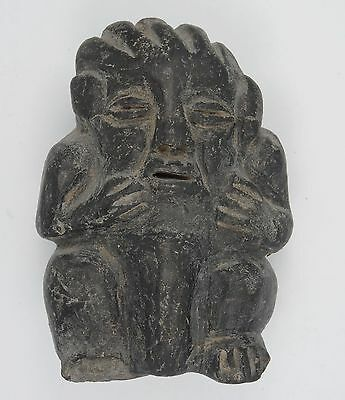 Antique Pre-Columbian Guatemala Seated Shaman Figure ~ 3.75""