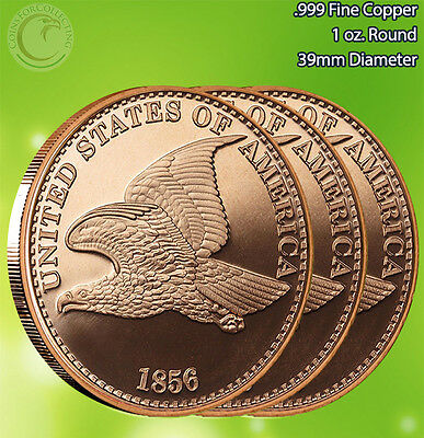"""3 Rounds """"1856 Flying Eagle Penny"""" 1 oz .999 Copper Rounds"""