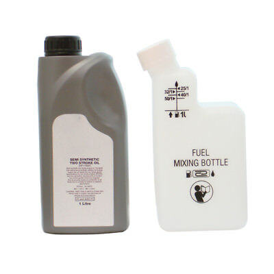 1 Litre Of 2 Stroke Oil & Fuel Petrol Mixing Bottle For Strimmer 25:1 40:1 50:1
