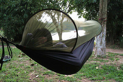 Camping Hammock Strength Parachute Fabric Hanging Bed With Mosquito Net
