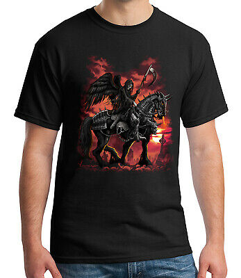 Death Rider Adult's T-shirt Grim Reaper on Horse Tee for Men - 1370C