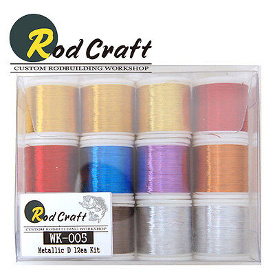 Lot of 12ea -Rodcraft Wrapping Metallic Thread D size 100yd Rod Building(WK-005)