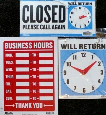 Business Hours Sign Clock Face Plastic Door Shop Store Opening Times Waterproof
