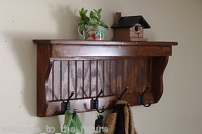 "30"" Handcrafted Wooden wall mount Coat Rack, Display Shelf, Key Hook, E Chestnut"