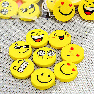 4Pcs Smile Smiley Rubber Eraser Kids Party Loot Stocking Bag Fillers Stationery