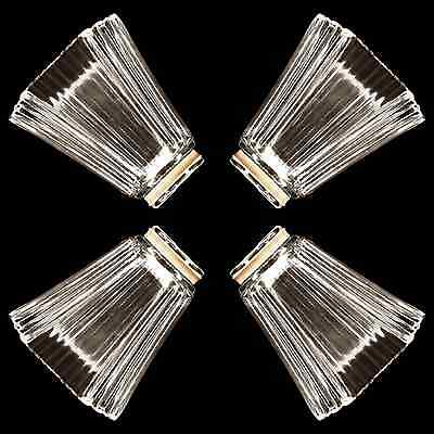 4X Glass Shades Vanity / Ceiling Fan Replacement Globes Square Pyramid _328-08