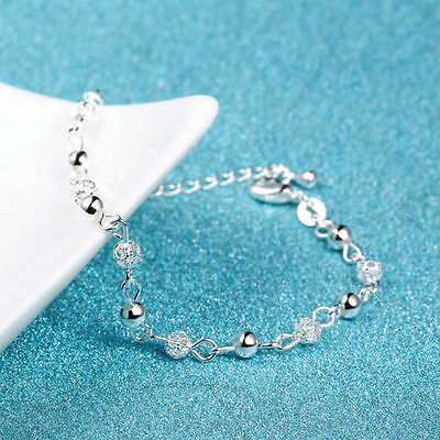 Women's Silver Plated Chain Charm Delicate Hollow Beads Bracelet Anklet Jewelry