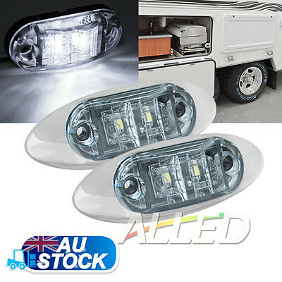 2X12V Cool White LED Sleek Side Marker Clearance Light Indicator Trailer Truck