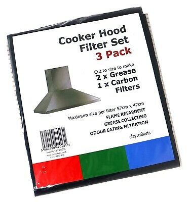 Grease and Carbon Cooker Hood Filters, Pack of 3, Cut to Size, Vent Filters