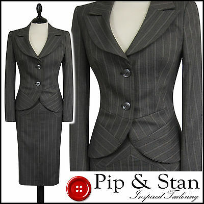 New Next Uk14R Us10 Grey Pencil Skirt Suit 50S Women Ladie Size Pip And Stan