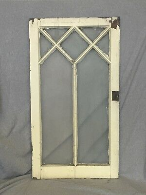Antique Diamond Casement Window Sash Cabinet Old Shabby Frosted Chic Vtg 862-16