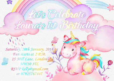 10 X UNICORN Personalised Birthday Party Invitations Or Thank You Cards