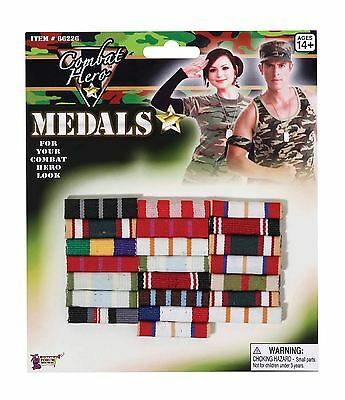 Armed Forces Day Fancy Dress Costume British Soldier Army GI Military Medal Bar
