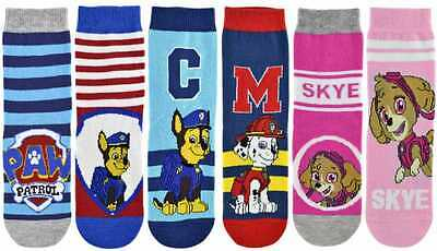 """Childrens Official Paw Patrol """"Marshall, Chase & Skye"""" Character Socks 1pp Blue"""