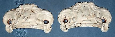 2 Antique Cast Iron Metal Ornate Lyre Dresser Drawer Cup Pull Handle Set White
