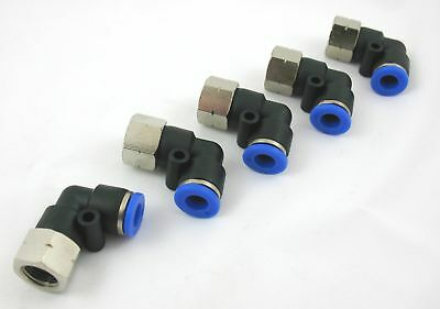 "5pc Push In to Connect Female Elbows 1/4"" OD - 1/8"" NPT MettleAir MTLF1/4-N01"