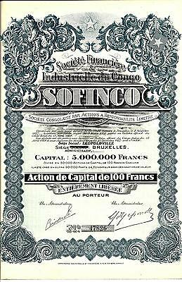 "Societe Financiere & Industrielle du Congo ""SOFINCO"" 1927  Stock Certificate"
