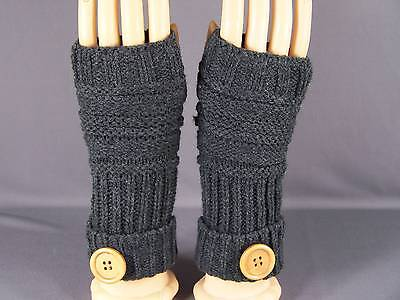 Dk Grey Gray fingerless gloves texting open thumb button knit arm warmer warmers