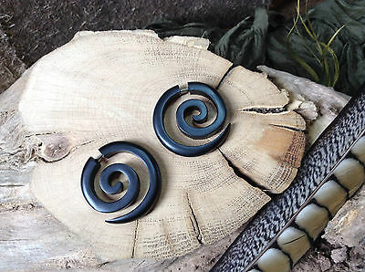 Dark Wood Spiral Earrings Pair 3.5 x 3.5cm Tribal Fake Expander  Ethnic Organic