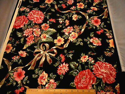 Floral Fabric BTY By Yard Pink Flowers Ribbon on Black Polished Finish Cotton