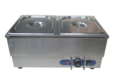 Bain-Marie Food Warmer 110V 2 Pots Pans Sauce Commercial Stainless