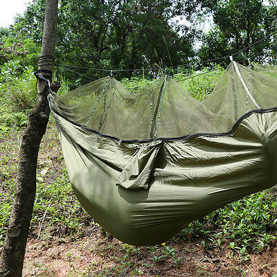 2016 Travel Camping Outdoor Nylon Fabric Hammock Military Green & Mosquito Net