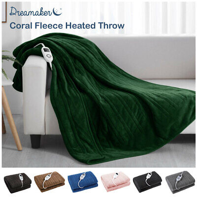 NEW DREAMAKER HEATED Electric THROW RUG Snuggle Blanket Washable 9 Heat Settings