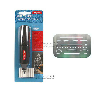 DERWENT ELECTRIC BATTERY OPERATED ERASER + 8 REFILL & 1 x ERASER SHIELD TEMPLATE