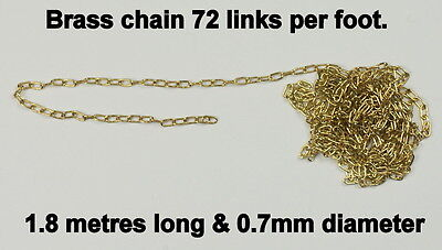 Brass chain links 72 per foot clock clockmakers 0.7mm diameter 1.6 metres long