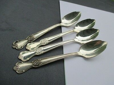 1950 Signature Old Company Rogers Silver Plate 4 Citrus Fruit Spoons Serrated
