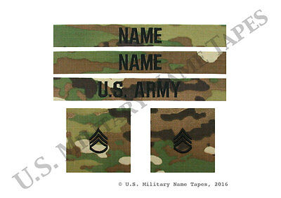 U.S. Army Name Tape & Rank Patch Set for Scorpion OCP ACU & Cap for Sew-On Only