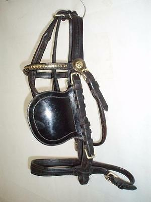Vintage Black English Leather Cob Driving Harness Bridle.Semi Patent. (HISLOP)